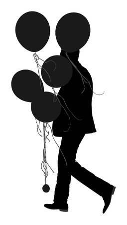 Groom in suit with balloons vector silhouette illustration, portrait of a man on wedding day Groomsman on a ceremony Bridegroom walking. Elegant youngsters. Illustration
