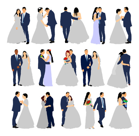 Groom and bride wedding day, in dress and suit vector illustration. Young wedding couple. Married man and woman holding hands. Illustration