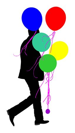 Handsome man in suit with balloons vector silhouette isolated on white background. Father animator on childrens birthday.  Groom on wedding celebration event. Boy on date waiting girl with funny gift