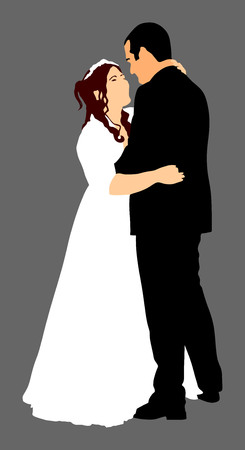fiance: Groom and bride wedding day, in dress and suit vector illustration. Young wedding couple. Dancing at the wedding. Illustration