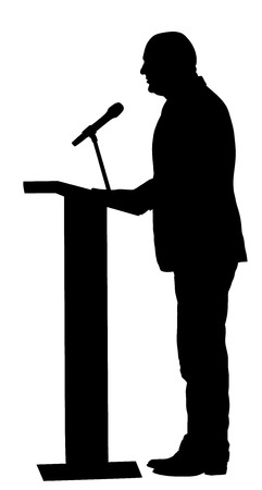 Public speaker standing on podium vector silhouette illustration isolated on white background. Politician man opening meeting ceremony event. Businessman on podium speaking with public. Illustration