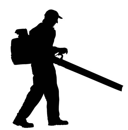 Landscaper operating petrol Leaf Blower in the city park, vector silhouette. Worker on a street in autumn collects leaves with a leaf blower. Communal city job cleaning park. Gardener laborer farmer Ilustracja