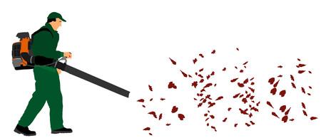 Opérateur d'exploitation de Landscaper Leaf Blower dans le parc de la ville, illustration vectorielle. Le travailleur dans une rue en automne collecte des feuilles avec un souffleur de feuilles. Banque d'images - 83765336