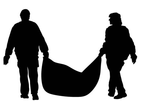Park outdoor workers with bag of leaves or garbage, trash, vector silhouette illustration. Gardeners holds a plastic bag with garbage. Backyard Garden raking, Clean Up. Landscaper Foliage cleaning.