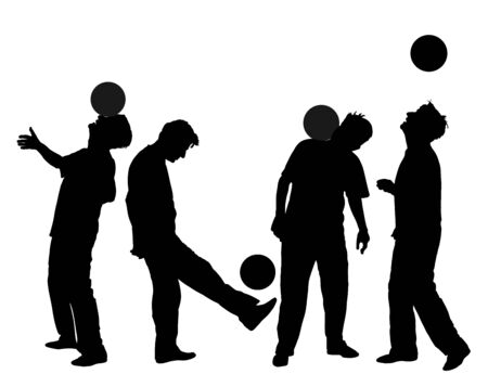 Juggling trick with ball vector silhouette illustration. Sportsman showing skills with ball. Street artist perform. Soccer player show. Football juggler playing with ball. Sport artist entertainment. Vectores