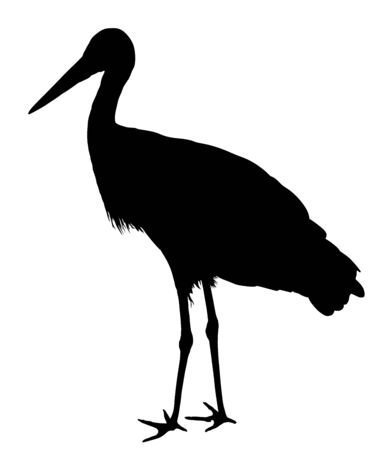 Stork vector silhouette illustration isolated on white background. Visitant, bird migration symbol. Ilustração