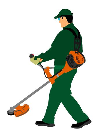 Grass trimmer worker vector illustration. Garden work. Man outdoor grass cutting Lawn Trimmer. Gardener working. Landscaper. laborer in park communal urban service activity. Green field care.