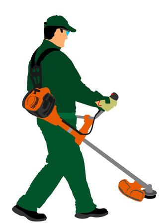 Ilustración del vector del trabajador del condensador de ajuste de la hierba. Trabajo en el jardín. Cortadora de césped para cortar césped.