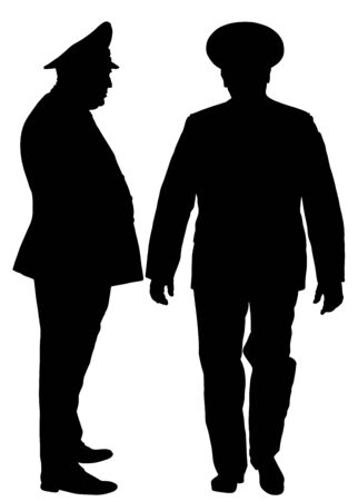 Soviet army officer in uniform vector silhouette illustration. Russian general marshal profile vector. Soldier in uniform. Military commander. Marsh officer in a ceremonial procession. Military parade Illustration