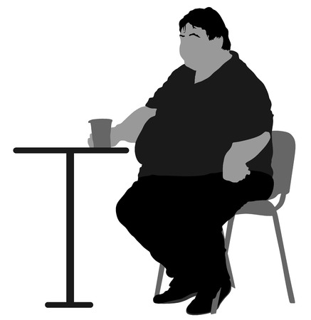 sweaty: Fat man sitting vector silhouette isolated on white background. Over weight person drinking in restaurant. Illustration