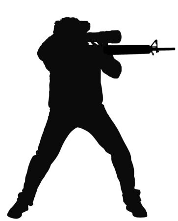 Sniper soldier vector silhouette illustration. Soldier with rifle with optic. Paintball player. Recreation with adrenaline in urban environment. Hunter with rifle outdoor action. Military skill.