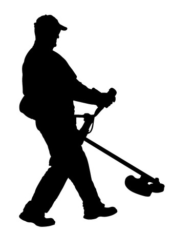 Grass trimmer worker vector silhouette illustration. Garden work. Grass Cutting Lawn Trimmer.