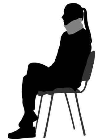 Girls neck in the collar of trench vector silhouette illustration.  Injured woman with neck brace sitting in ambulance. Waiting for doctor in hospital. Medic help for patient. Broken  vertebra health