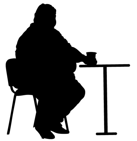 Fat man sitting vector silhouette isolated on white background.