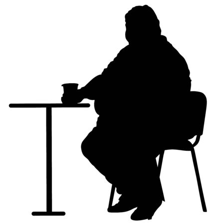 Fat man sitting and drinking in fast food restaurant silhouette. Worry about health. Overweight person trouble. Big boy think about food calorie vector. Difficulties in moving. Breathless sweaty man 写真素材 - 128226644