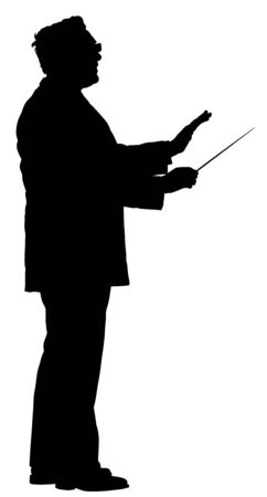 Music conductor vector silhouette illustration isolated on white background. Philharmonic conductor. Orchestra leader on event. Vettoriali