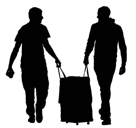 Tourist boys travelers carrying suitcase vector silhouette illustration isolated on white. Tourists carry big bag luggage . Man passenger waiting taxi for travel to airport. Moving service hard worker Imagens - 128226645