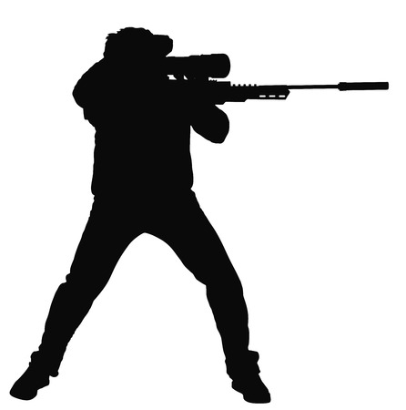 Silhouette of a sniper vector silhouette illustration. Soldier with rifle with optic. Paintball player. Recreation with adrenaline in urban environment. Illustration