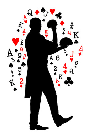 Magician performing trick with cards vector silhouette illustration isolated on white background. Magic performer illusionist.