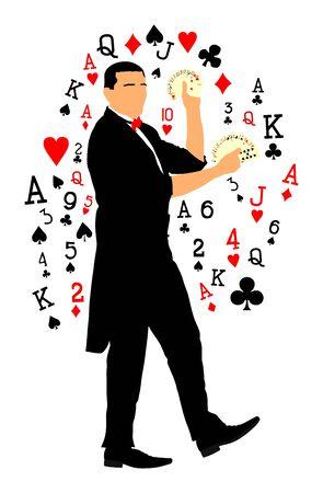 Magicien effectuant un tour avec des cartes illustration vectorielle isolée sur fond blanc. Illusionniste magicien. Spectacle de cabaret ou spectacle de cirque. Animateur sur une émission d'anniversaire.