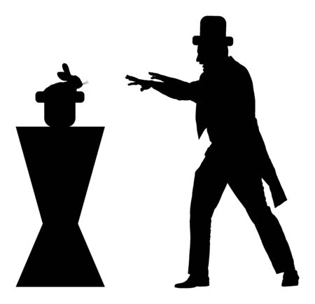 Magician performing trick with rabbit, vector silhouette illustration isolated on background. Magic performer illusionist. Live rabbit disappears and rises. Hypnotist hypnotizes the rabbit in cabaret. Illustration