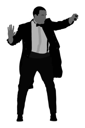 Magician performing trick with balls vector illustration isolated on white. Magic performer illusionist, disappears and rises. Show artist.  Cabaret or circus entertainment performance. Animator.
