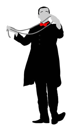 Magician performing trick with rope vector illustration isolated on white. Magic performer illusionist, disappears and rises. Cord artist.  Cabaret show or circus entertainment performance. Animator.