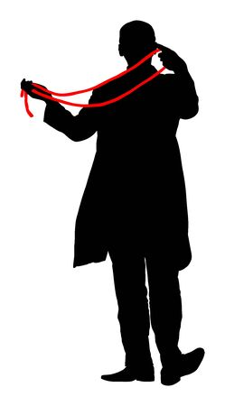 Magician performing trick with rope vector silhouette isolated on white. Magic performer illusionist, disappears and rises. Cord artist.  Cabaret show or circus entertainment performance. Animator. Ilustração