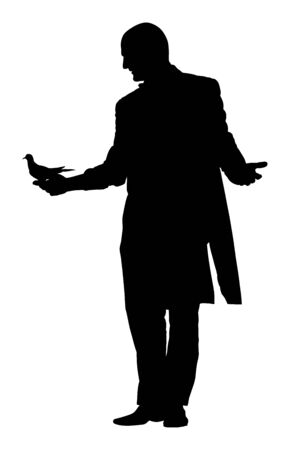 Magician performing trick with pigeon or dove, vector silhouette illustration isolated. Magic performer illusionist. Live bird disappears and rises.  Cabaret show or circus entertainment performance. Illustration