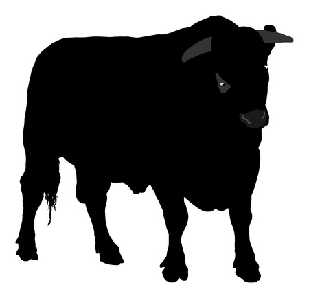 Standing adult bull vector silhouette illustration isolated on white background. Stock Illustratie