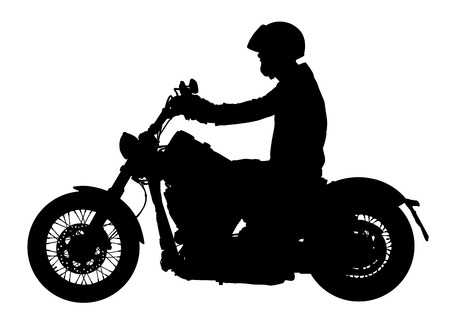 Biker driving a motorcycle rides along the asphalt road vector silhouette illustration. Illustration