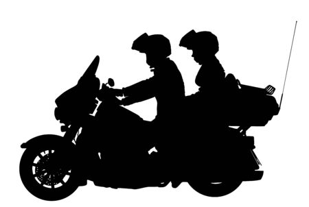 Couple in love on motorcycle vector silhouette illustration. Safety riding concept. Active couple riding on the motorbike, having fun in bikers tour. Biker travel silhouette. Road trip action travel.