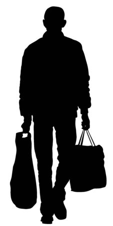 Lonely man doing everyday grocery shopping with shopping basket at supermarket, vector silhouette isolated on white background. Male usual walk after work with consumer bag buy food and another goods. Çizim