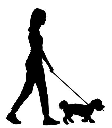 Owner handsome girl walking with dog vector silhouette illustration, isolated on white background. Maltese dog. Illustration