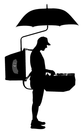 Fast food seller vector silhouette illustration. Mobile restaurant offer hot dog and burger outdoor on the street. Beach food and drink. Popular public marketing with snack degustation.Worker standing