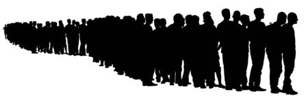 Group of people waiting in line vector silhouette isolated on white. Mexico border refugees. migration crisis in Europe. Turkey war migration waves going to Schengen Area. Border situation in USA, EU.