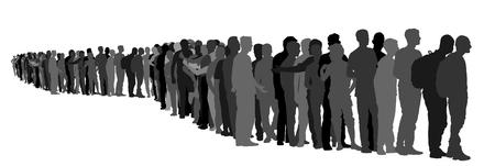흰색 배경에 고립 된 라인 벡터 실루엣에서 기다리고하는 사람들의 그룹입니다. 난민, 유럽에서 마이 그 레이션 위기의 그룹입니다. Schengen 지역을 통과하는 전쟁 이주 파도. EU의 국경 상황. 벡터 (일러스트)