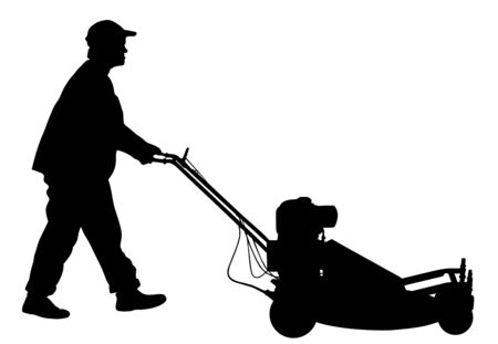Gardener man mowing lawn mower vector silhouette. Grass trimmer cutting. Professional garden worker. Landscaper cut public field in park. Farmer with agricultural machinery. beautification of yard. Stock Illustratie