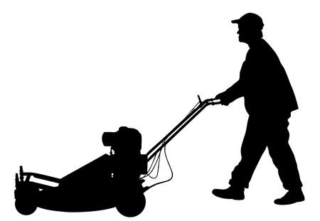 Gardener man mowing lawn mower vector silhouette illustration. Grass trimmer cutting. Professional garden worker.