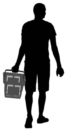 Lonely man doing everyday grocery shopping with shopping basket