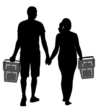 troley: Couple holding hand and walking in shopping market vector silhouette illustration. People with consumer basket buy food and another goods. Happy family grocery shopping in supermarket. Man and woman.