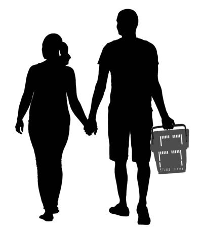 Couple holding hand and walking in shopping market vector silhouette illustration. People with consumer basket buy food and another goods. Happy family grocery shopping in supermarket. Man and woman.