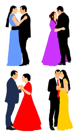 Groom and bride wedding day, in dress and suit vector illustration. Young wedding couple. Married man and woman holding hands. Classic dancers couples.