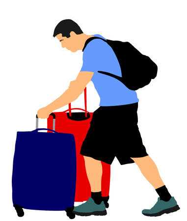 Tourist man traveler carrying his rolling suitcase vector illustration isolated on white background. Tourist with many bags isolated. Man passenger waiting taxi for travel to airport.
