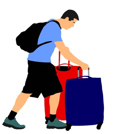 Tired tourist man traveler carrying his rolling suitcase vector illustration isolated on background. Boy with many bags. Man passenger waiting taxi for travel to airport. Hotel doorman boy helping. Stock Illustratie
