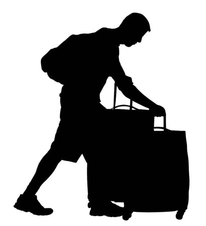 Tired tourist man traveler carrying his rolling suitcase vector silhouette isolated on background. Boy with many bags. Man passenger waiting taxi for travel to airport. Hotel doorman boy helping.
