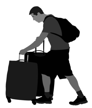 Tired tourist man traveler carrying his rolling suitcase vector illustration isolated on background. Boy with many bags. Man passenger waiting taxi for travel to airport. Hotel doorman boy helping.