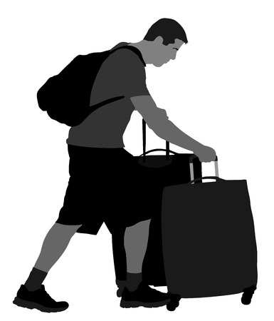 adventurer: Tourist man traveler carrying his rolling suitcase vector silhouette illustration isolated on white background. Tourist with many bags isolated. Man passenger waiting taxi for travel to airport.