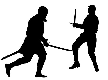 Knights in armor in a battle, with sword and shield vector. Silhouette illustration on isolated background. Ilustração