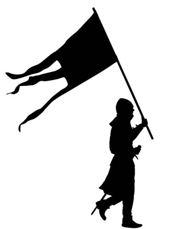The knight carries a barge with flag to the battle. Knight in armor, with sword vector silhouette illustration isolated on white background. Hero defense castle and land.